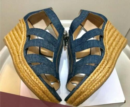 denim wedge sandals sz 9 color blue