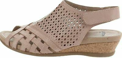 Earth Leather Perforated Wedge Sandals Pisa Galli Dusty Pink