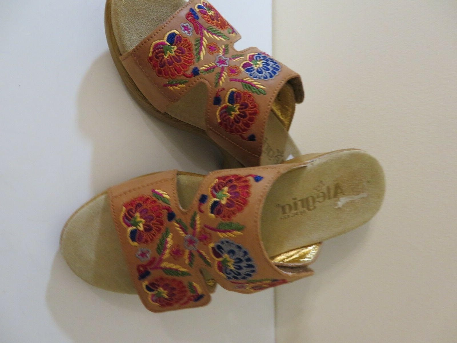 ALEGRIA EMBROIDERED LEATHER WEDGE SANDALS NEW TO