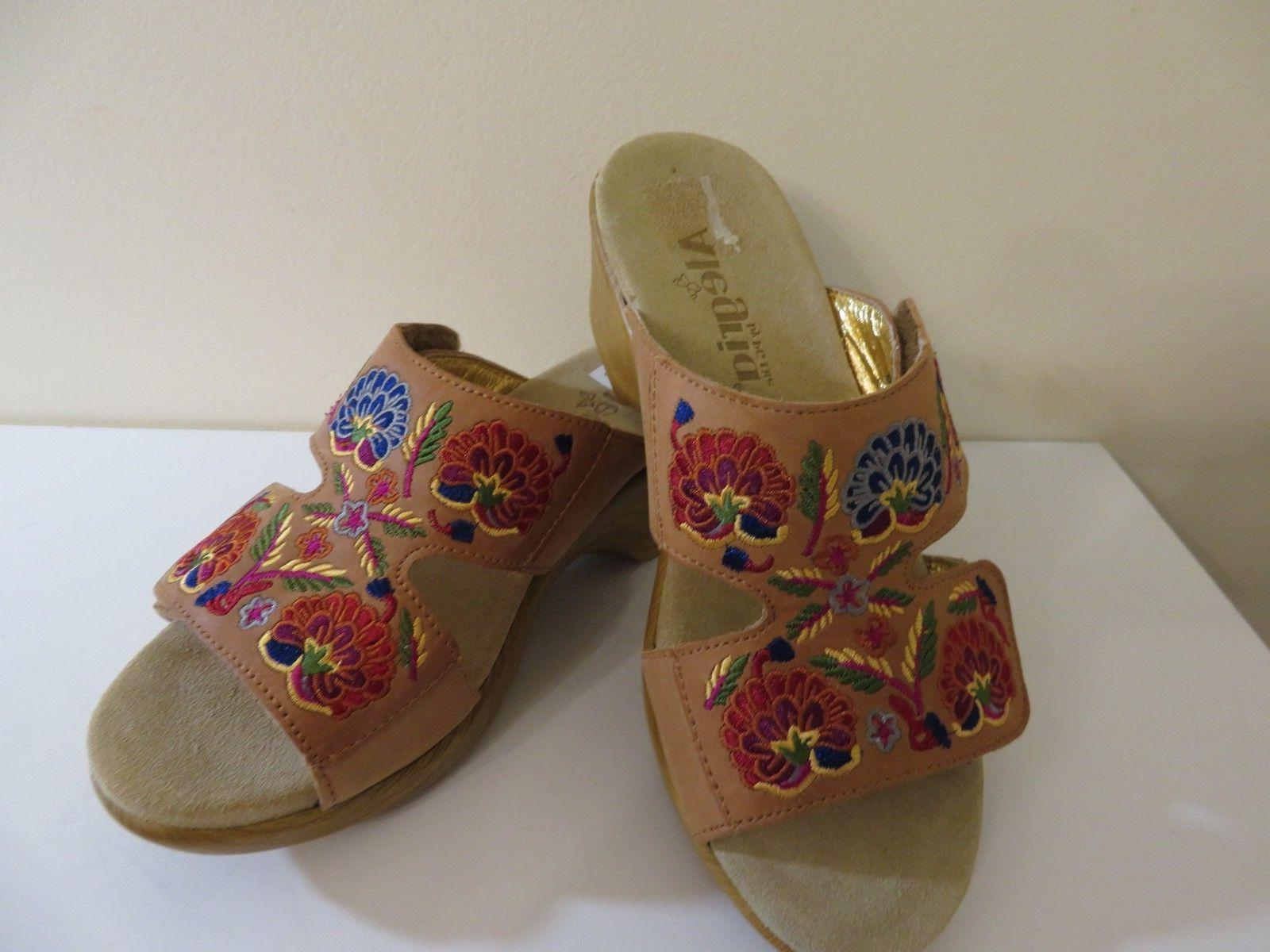 embroidered leather cognac wedge sandals shoes linn
