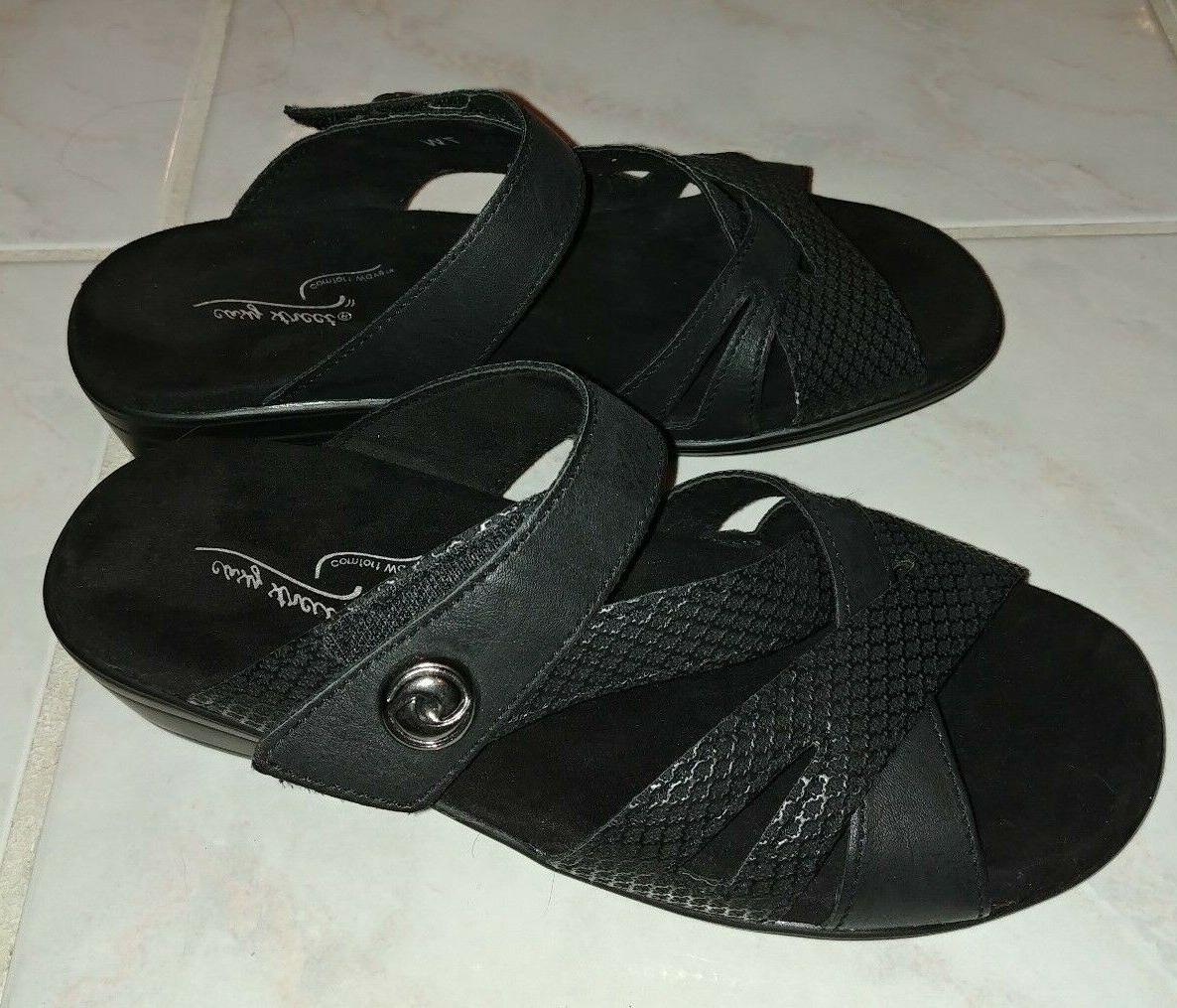 feature wedge slide sandals black size 7w