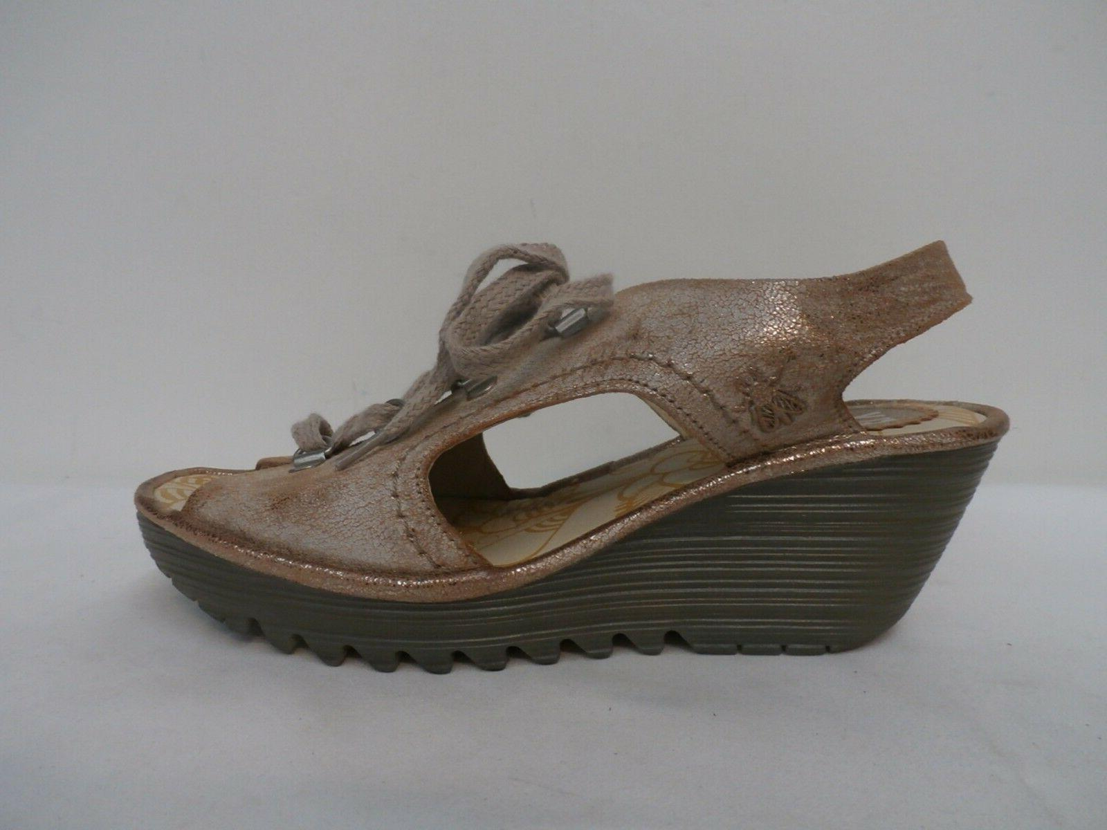 FLY London Leather Lace-Up Wedge Sandals - Ylfa LUNA Size 37