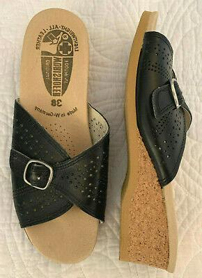 footprint navy blue leather cork wedge sandals