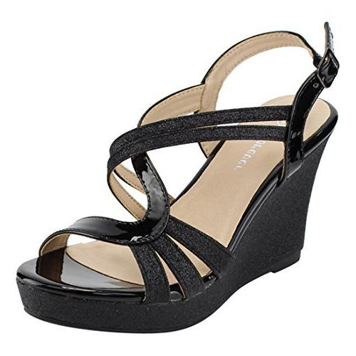 fq22 glitter strappy wrapped wedge