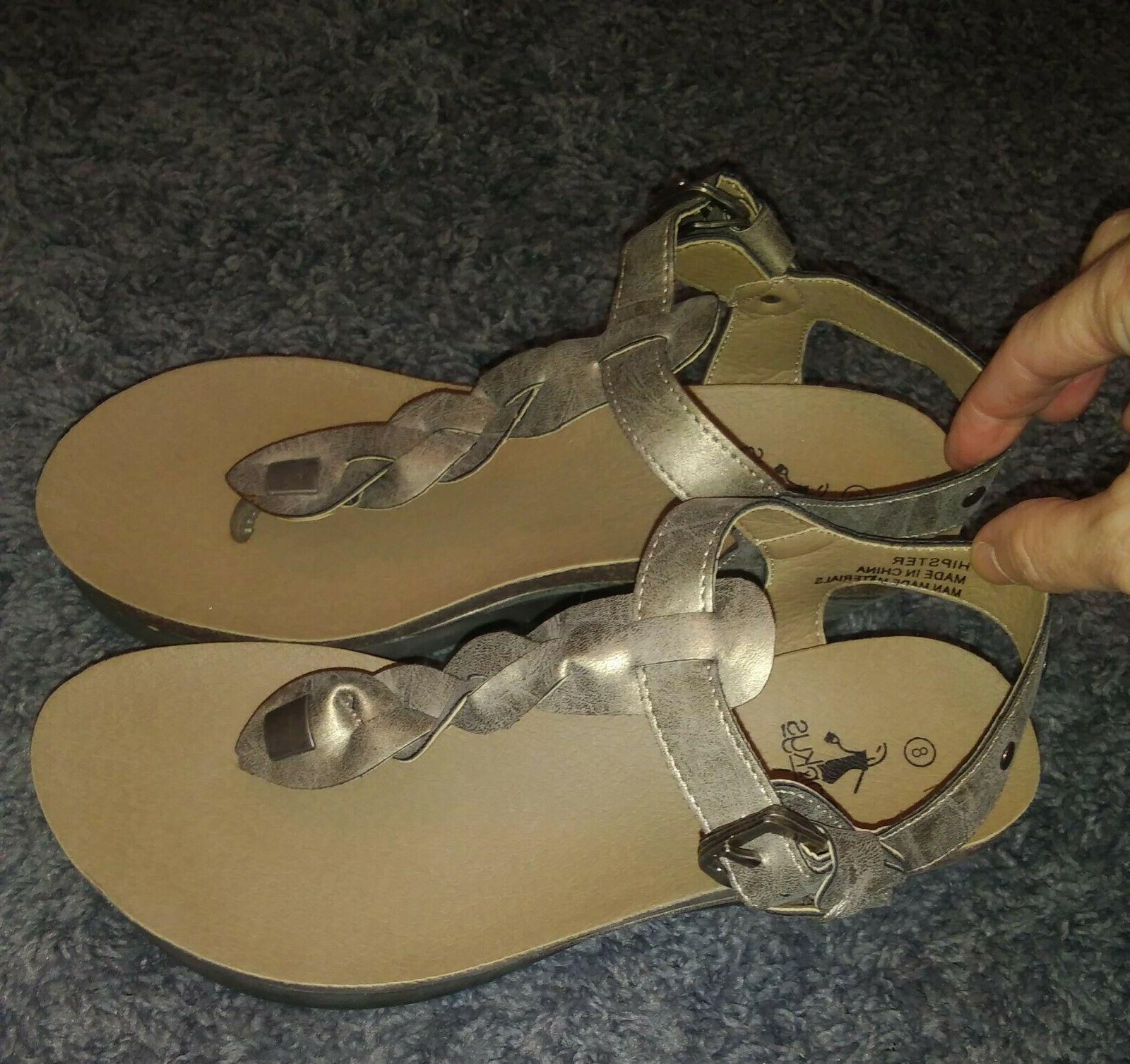 "CORKYS ""HIPSTER"" BRONZE THONG SANDALS SIZE"