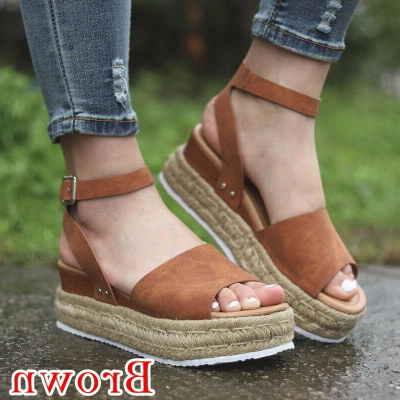 Hot Womens Espadrille Sandals Wedge Ankle