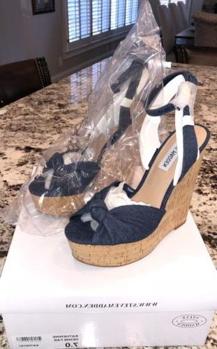 katherine wedge denim wedge sandals sz7 new