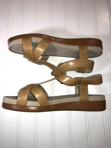 Hush size 9 leather sandals 1.5 inch wedge heel new cond