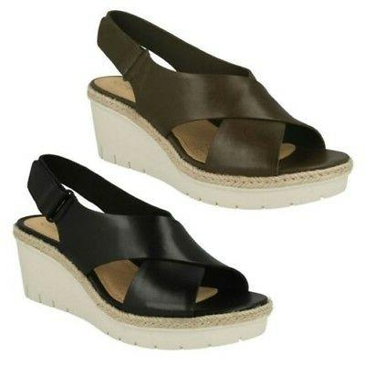 Ladies Clarks Wedge Slinback Leather Summer Sandals Palm Glo
