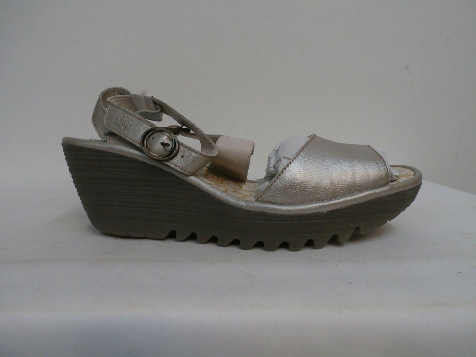 FLY London Leather Wedge silver 42