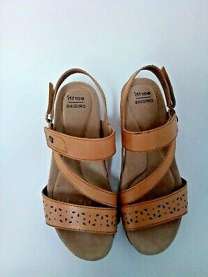 Earth Leather Wedges Sandals Amber 8.5