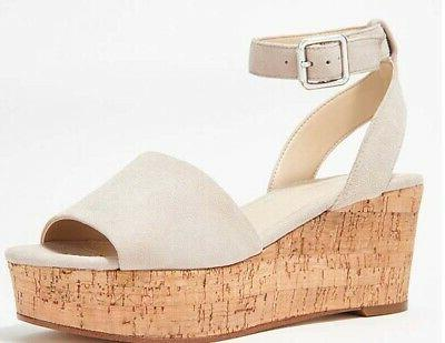Marc Fisher Leather Wedge Sandal Nature