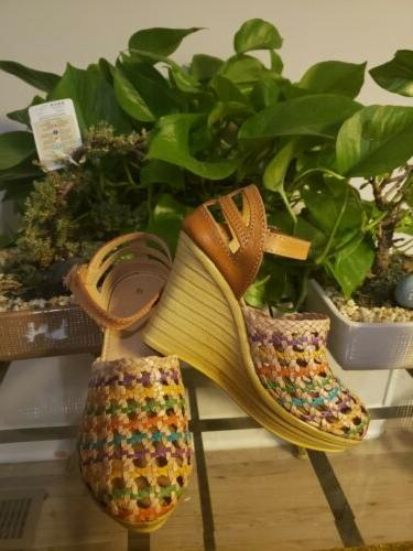 leather wedge sandals 8 mexican shoes multicolored