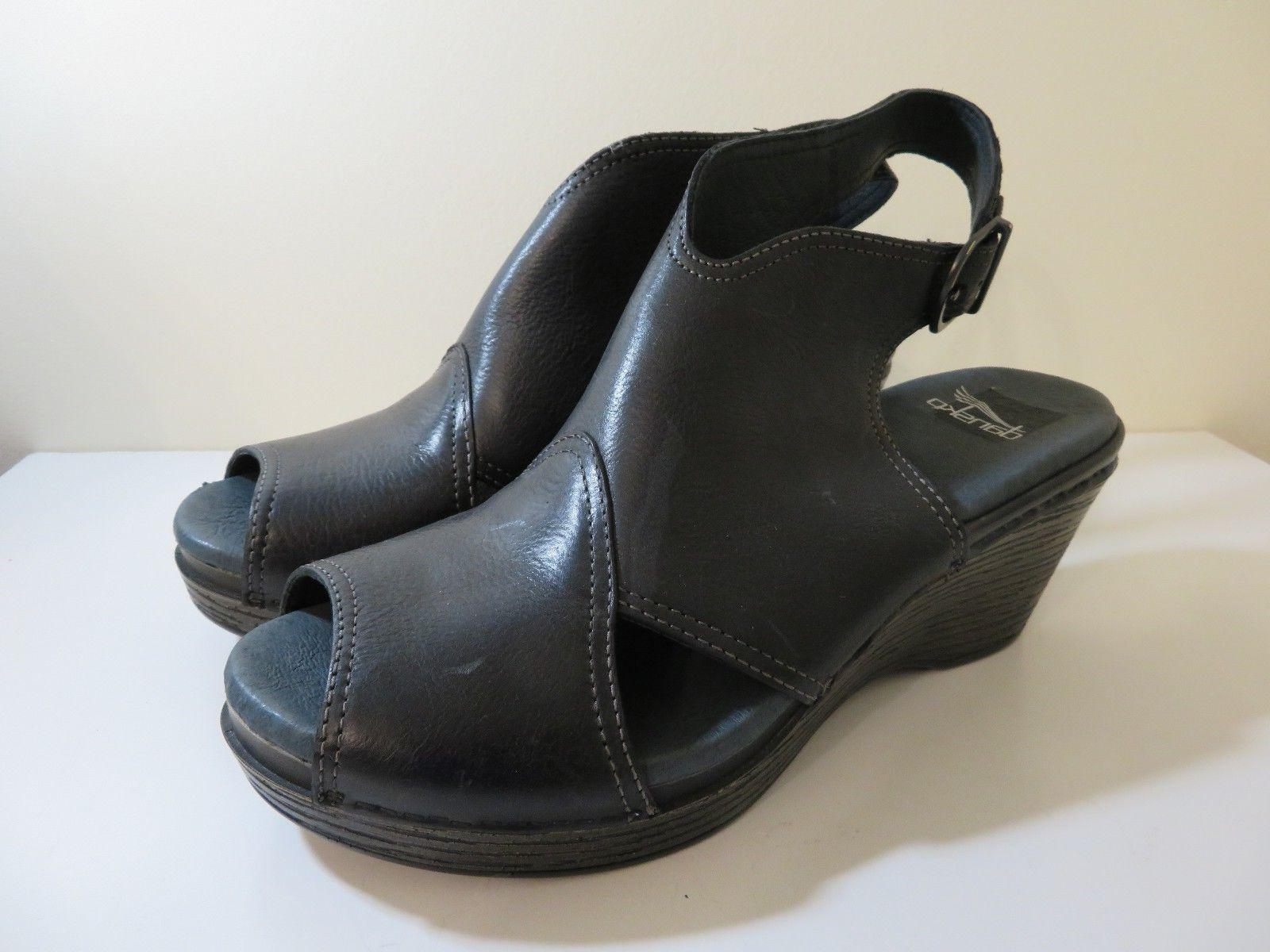 leather wedge sandals shoes vanda black new