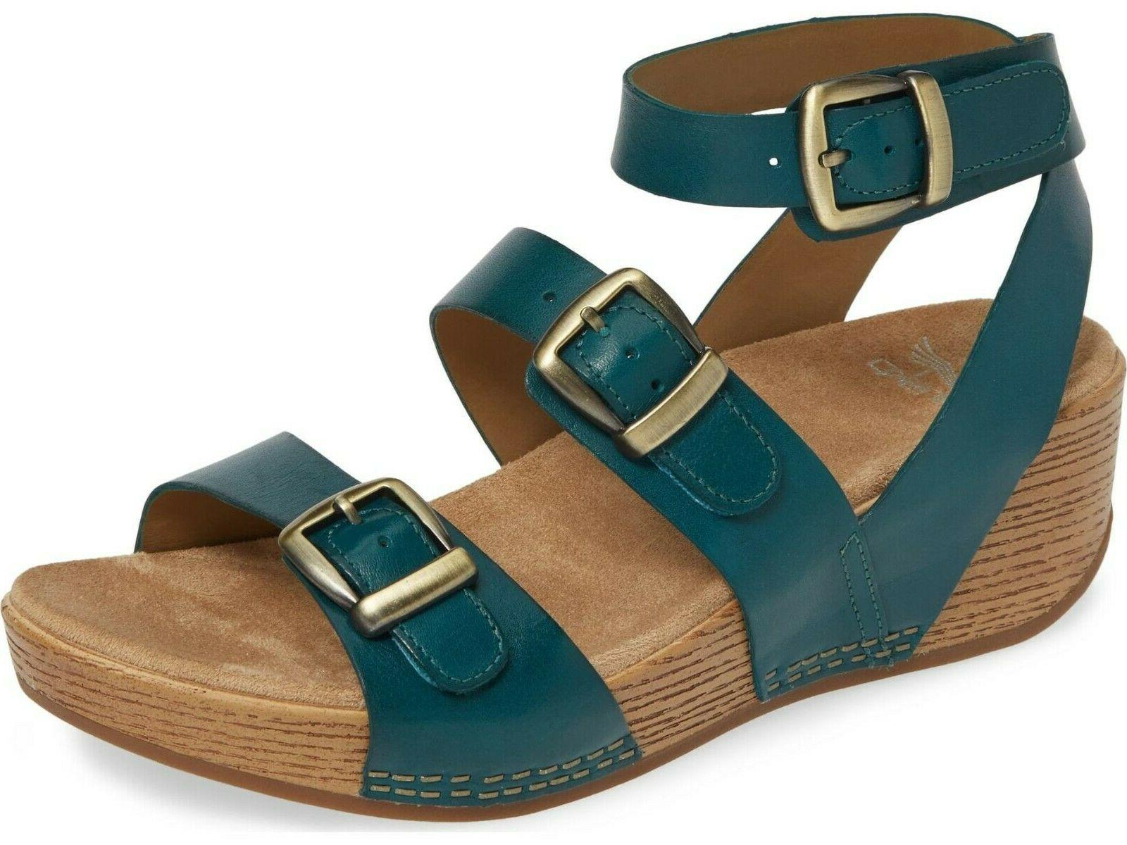 lou wedge sandal in turquoise new in