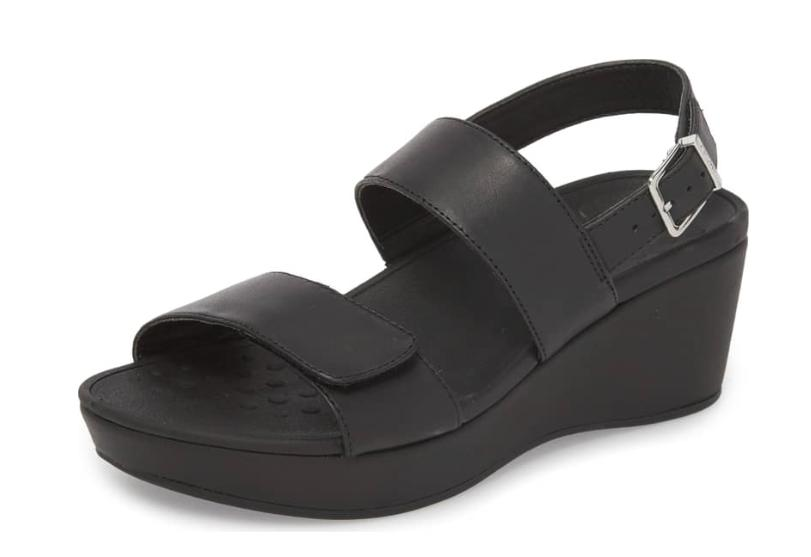 lovell strappy leather wedge black sandals adjustable