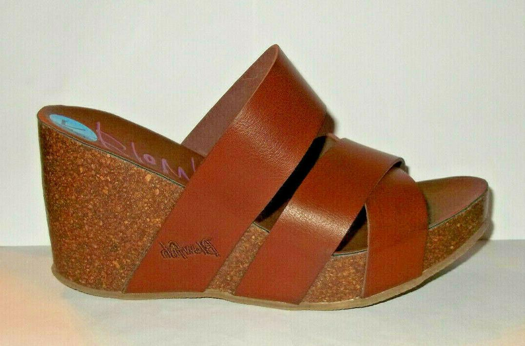 malibu brown faux leather and cork wedge
