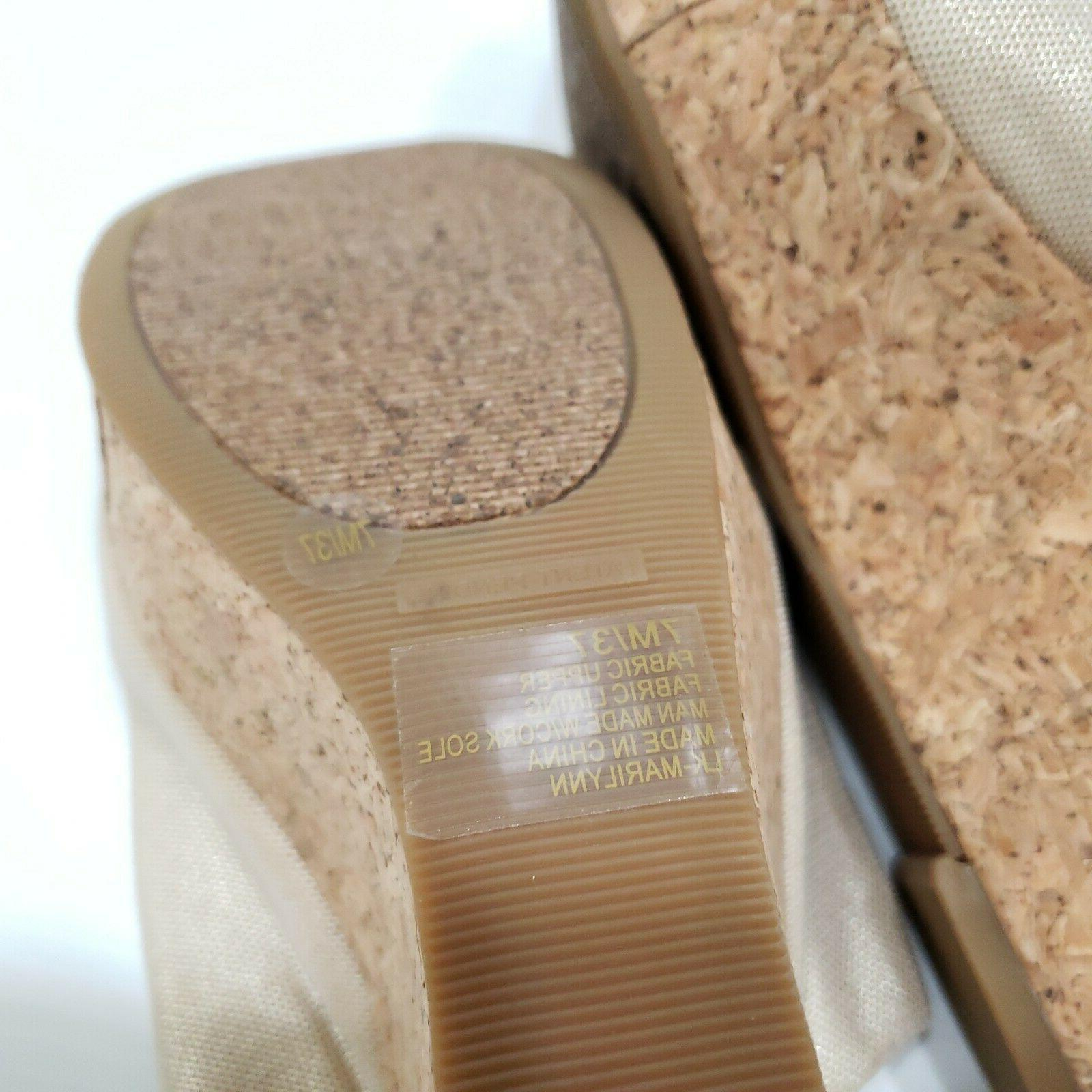 Lucky Gold Textile Slip Wedge Sandals Cork Sole Size 7M