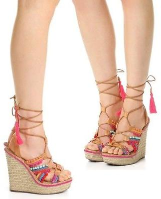 Schutz Bamboo Lace-Up Espadrille Sandals