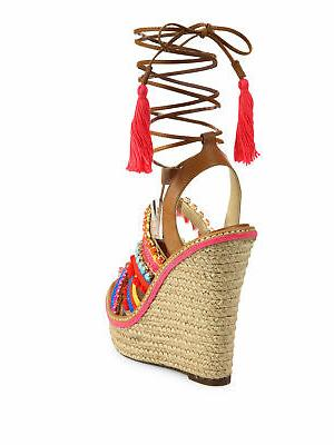 Schutz Multi Bamboo Lace-Up Espadrille Wedge