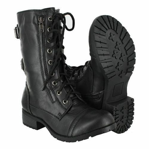 military combat motorcycle lace up women boots