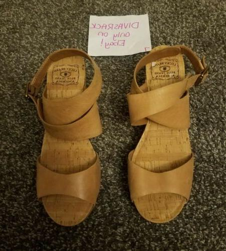 Lucky Brand Brown Leather Wedge Sandals 8.5