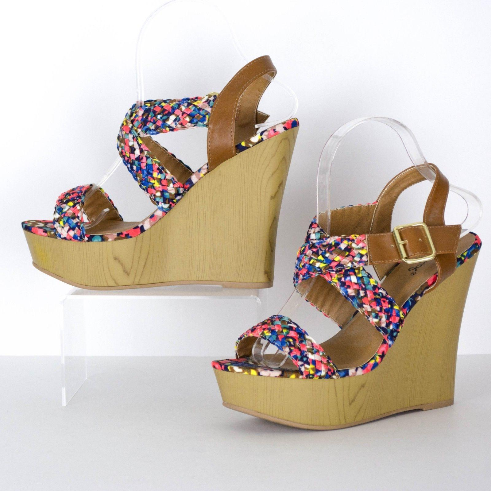 Qupid Strappy Platform Wedge 8 SA