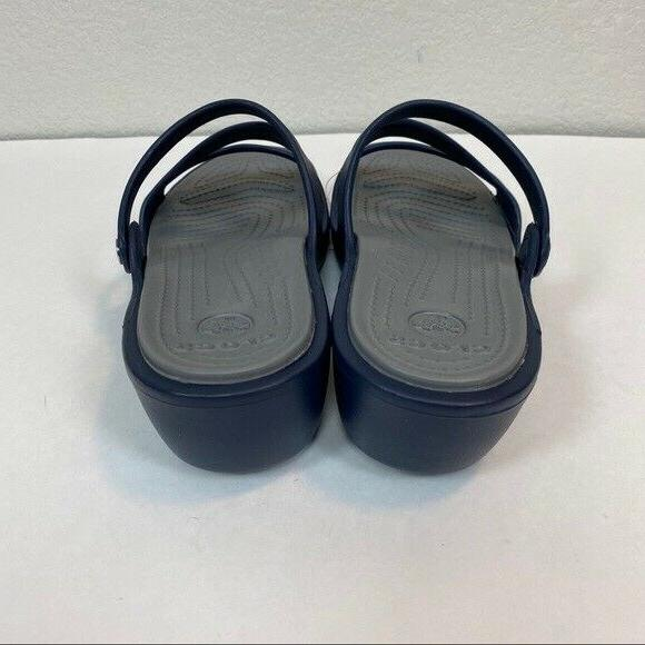Crocs Navy Wedge Sandals Womens size New