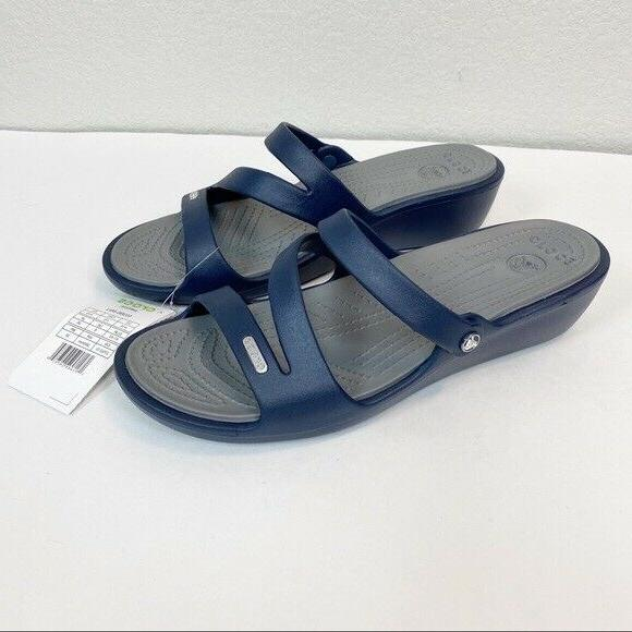 navy blue patricia wedge slide sandals womens