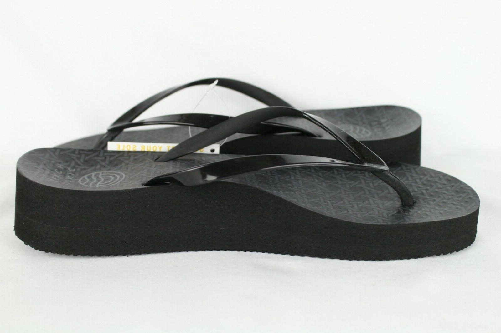 New Vionic Women's Coogee Wedge Flip Flop 8 Black