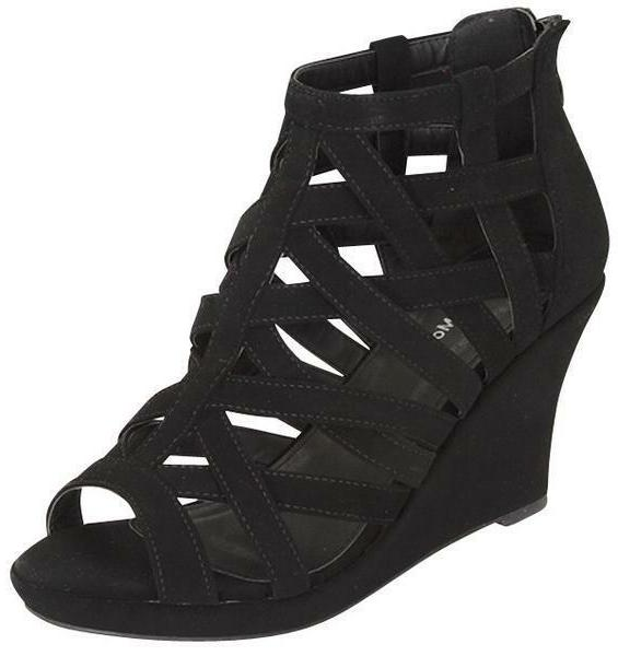 NEW CAGED Open toe Gladiator High Heel Strappy Wedge