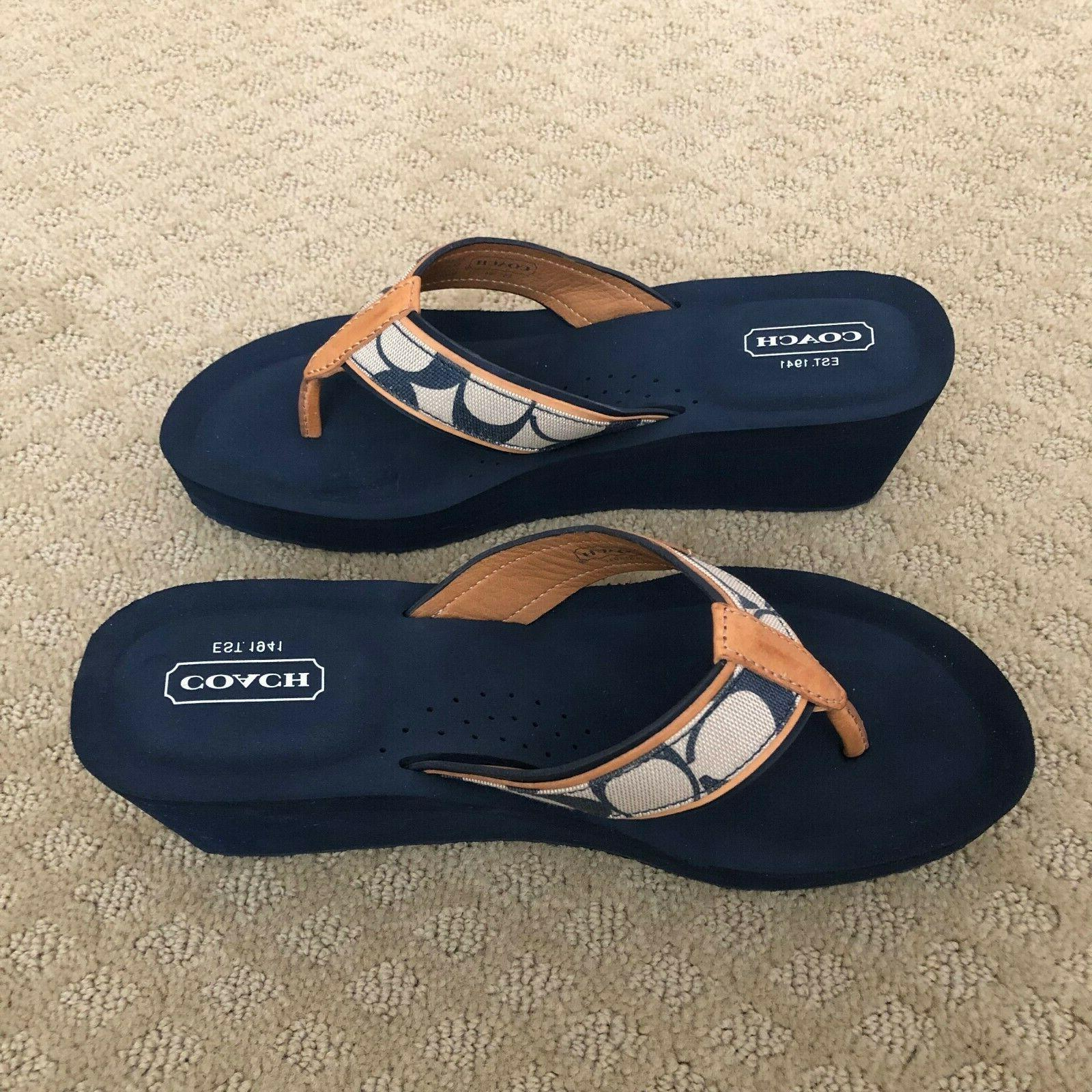 NEW w-Tan Leather Flip Sandals - Size