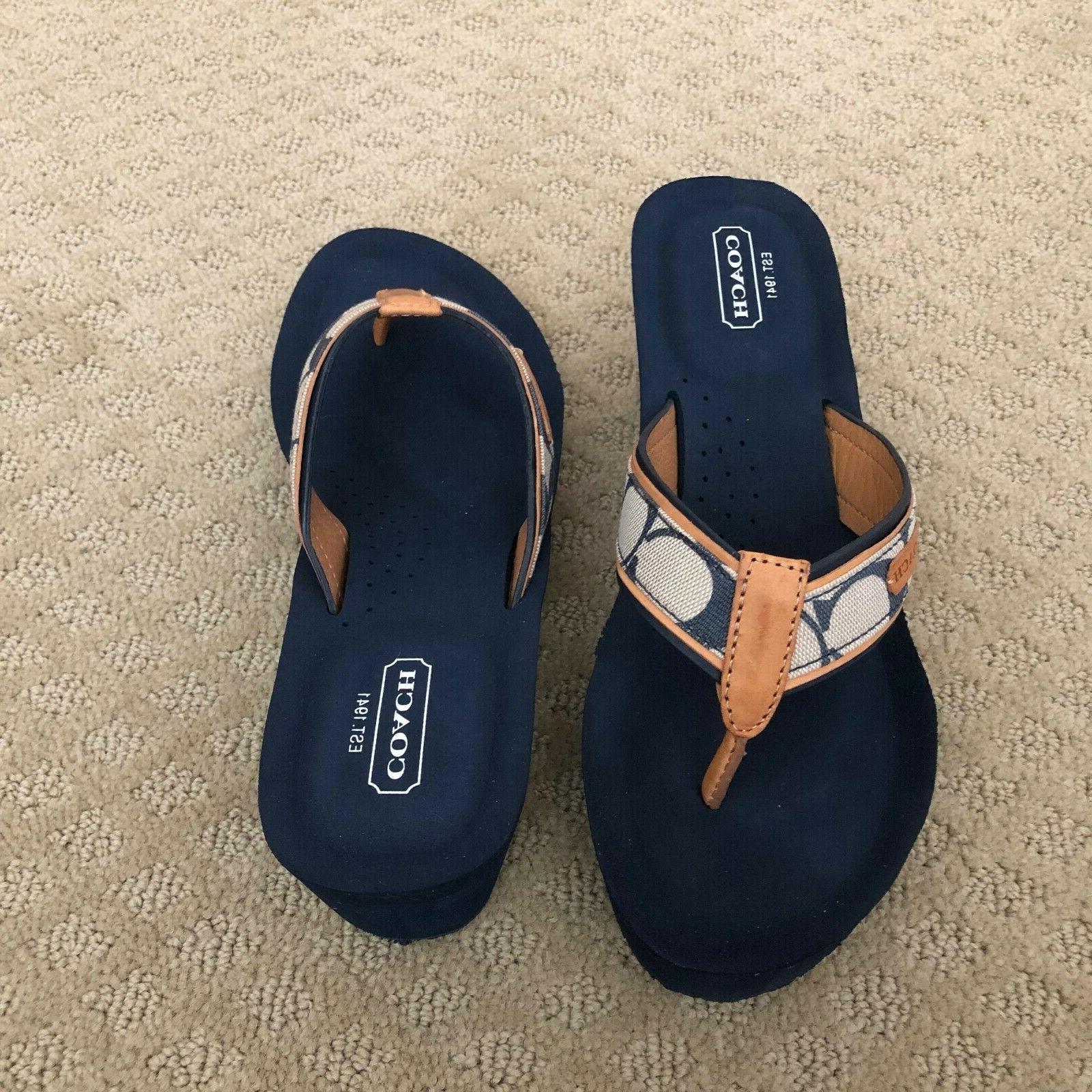 NEW Coach w-Tan Leather Wedge Flip Flop Size 8M