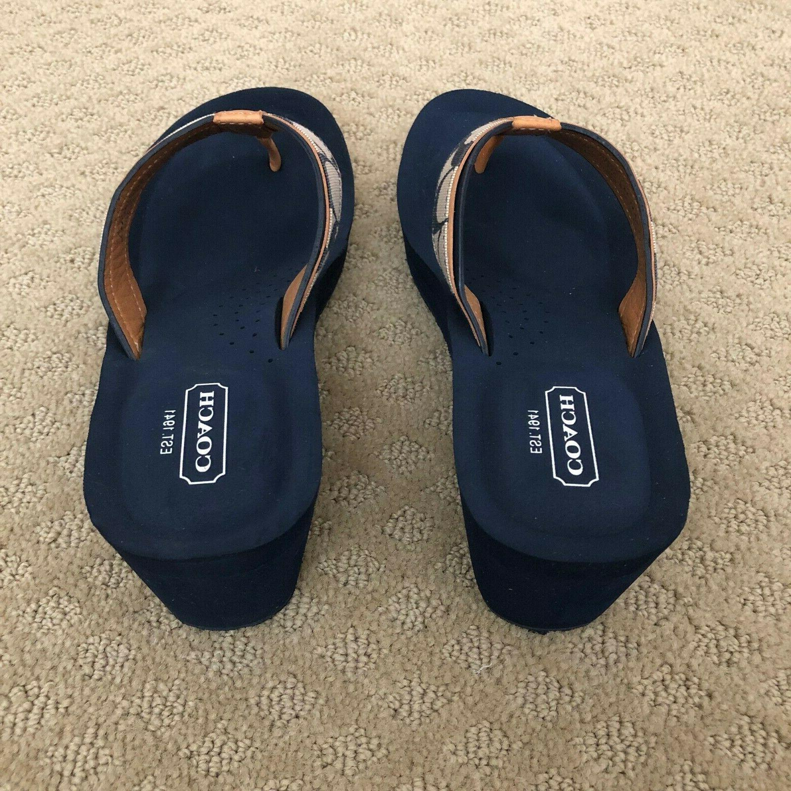 NEW Coach Indigo w-Tan Women's Flip Sandals Size