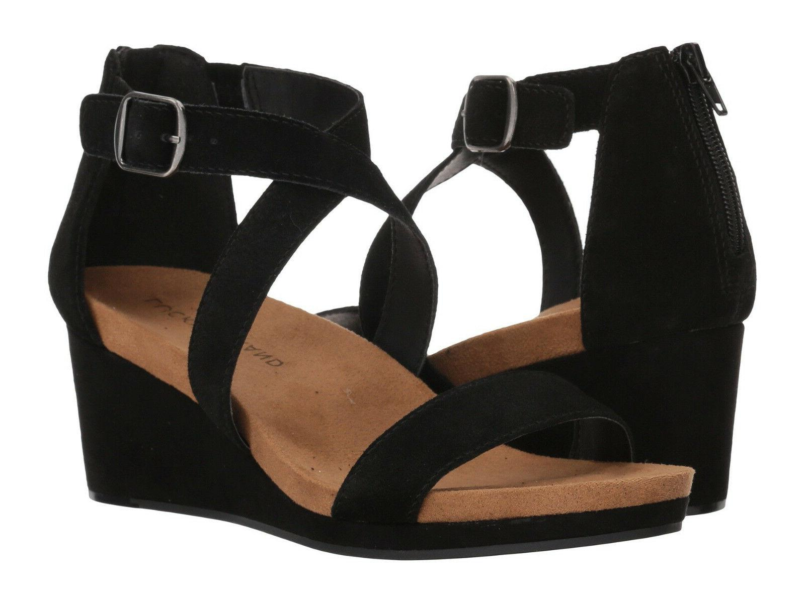 New In Box Womens Lucky Brand KENADEE Black Oiled Suede Wedg
