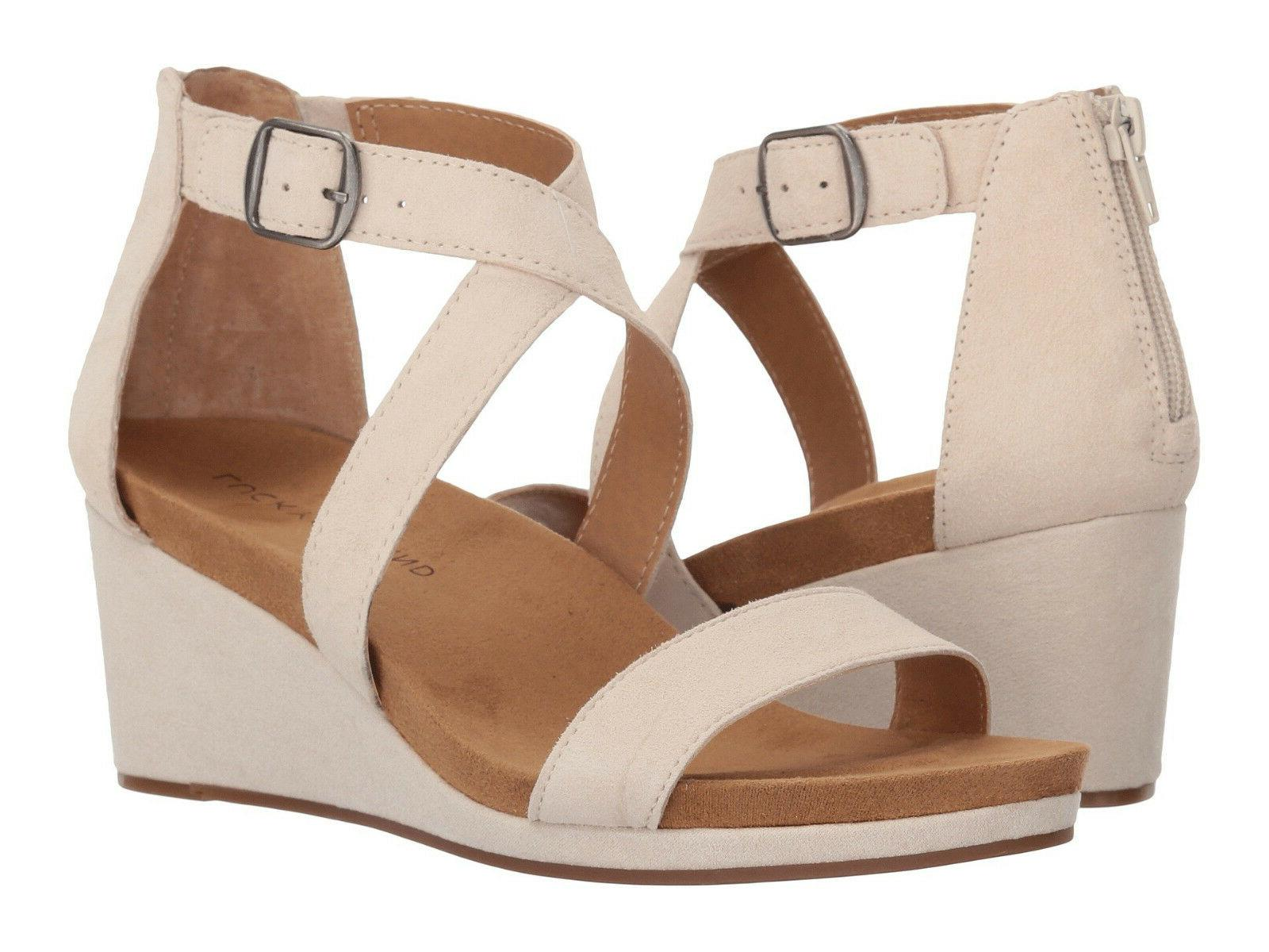New In Box Womens Lucky Brand KENADEE Sandshell Suede Wedge