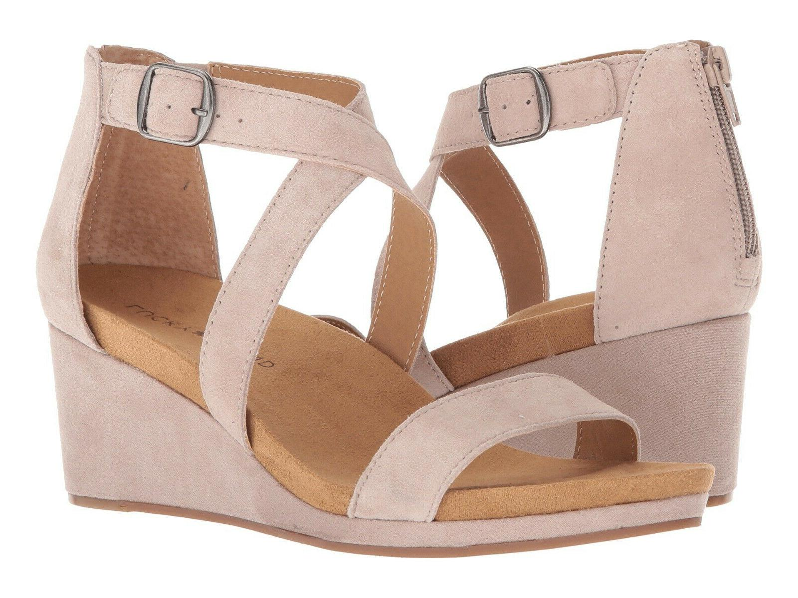 New In Box Womens Lucky Brand KENADEE Tipsy Taupe Suede Wedg