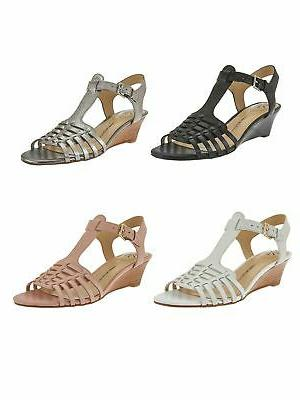new live leather fisherman low wedge sandals