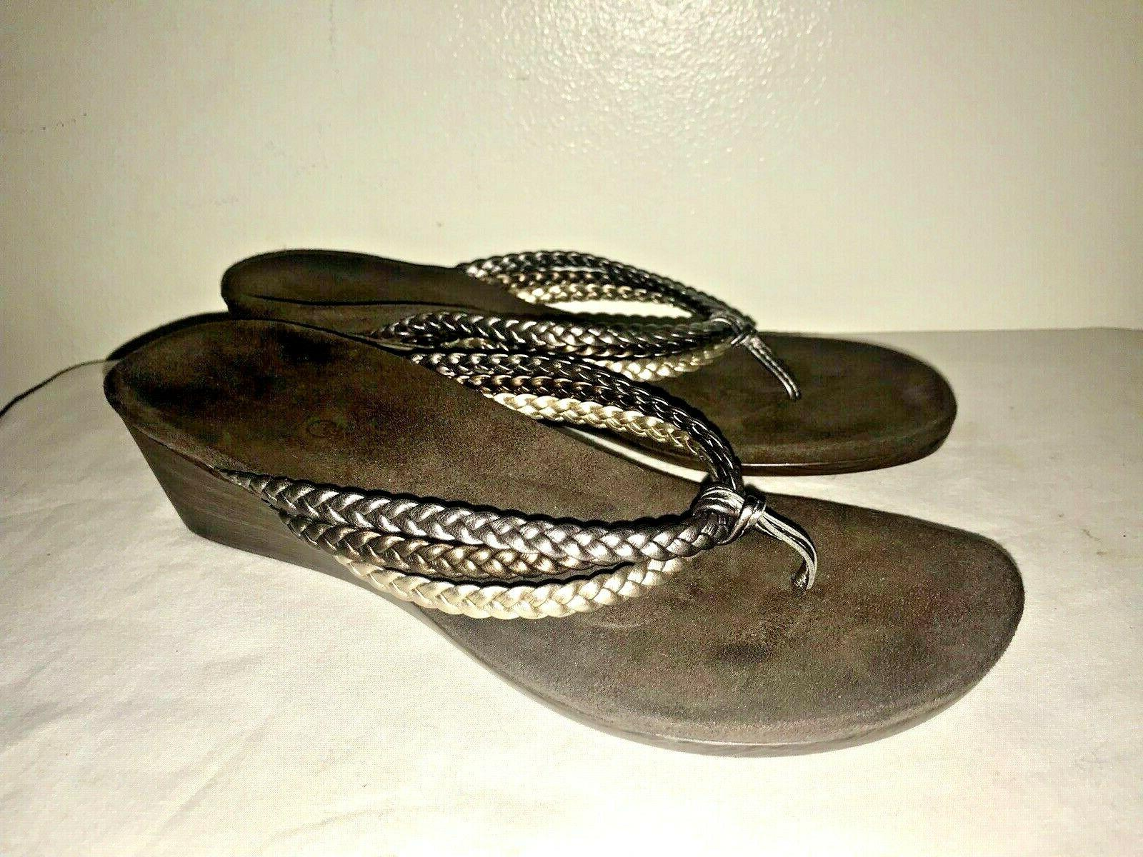 NEW VIONIC Orthaheel Braided Metallic Leather Wedge Thong Size 9 M