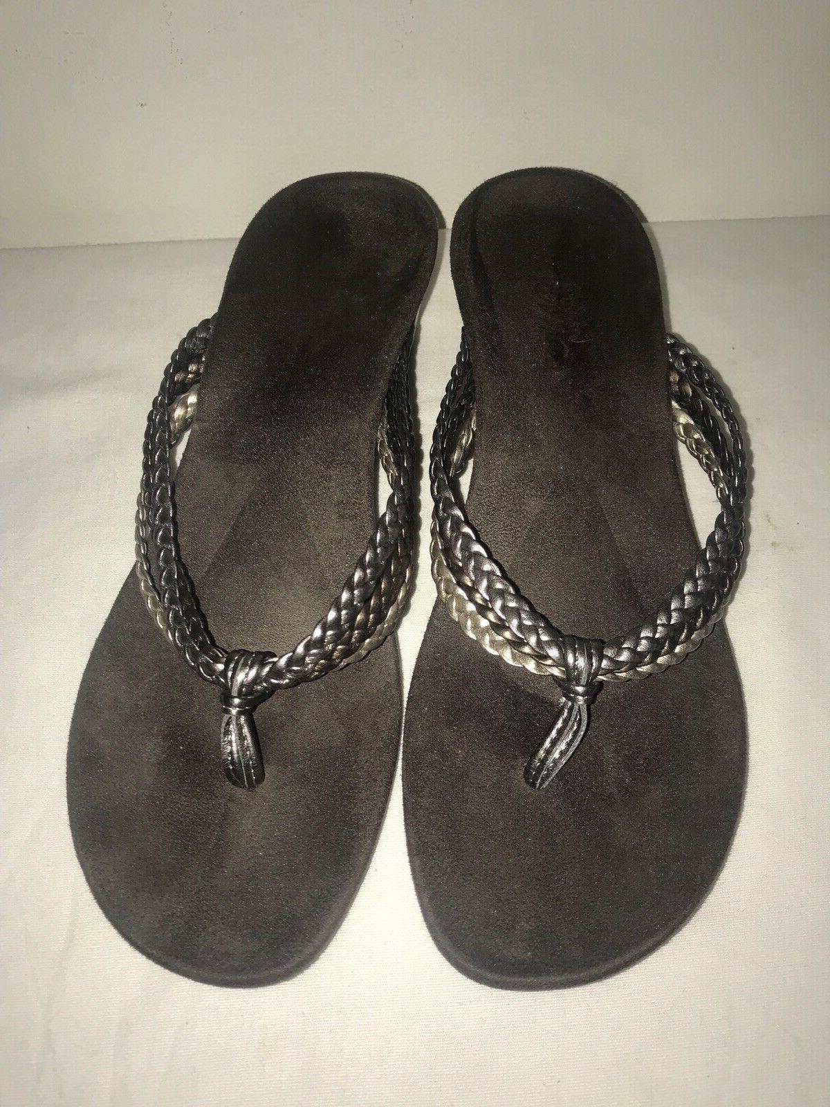 NEW VIONIC Braided Leather Wedge Thong Size 9 M