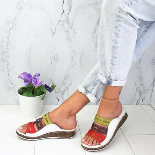 New Womens Chic Three-Color Stitching Open Toe Wedge