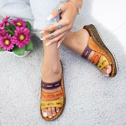 New Summer Womens Three-Color Stitching Sandals Open Wedge Shoes