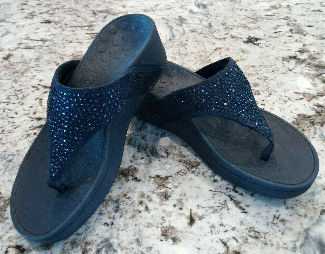 new with flaws crystal flip flop wedge