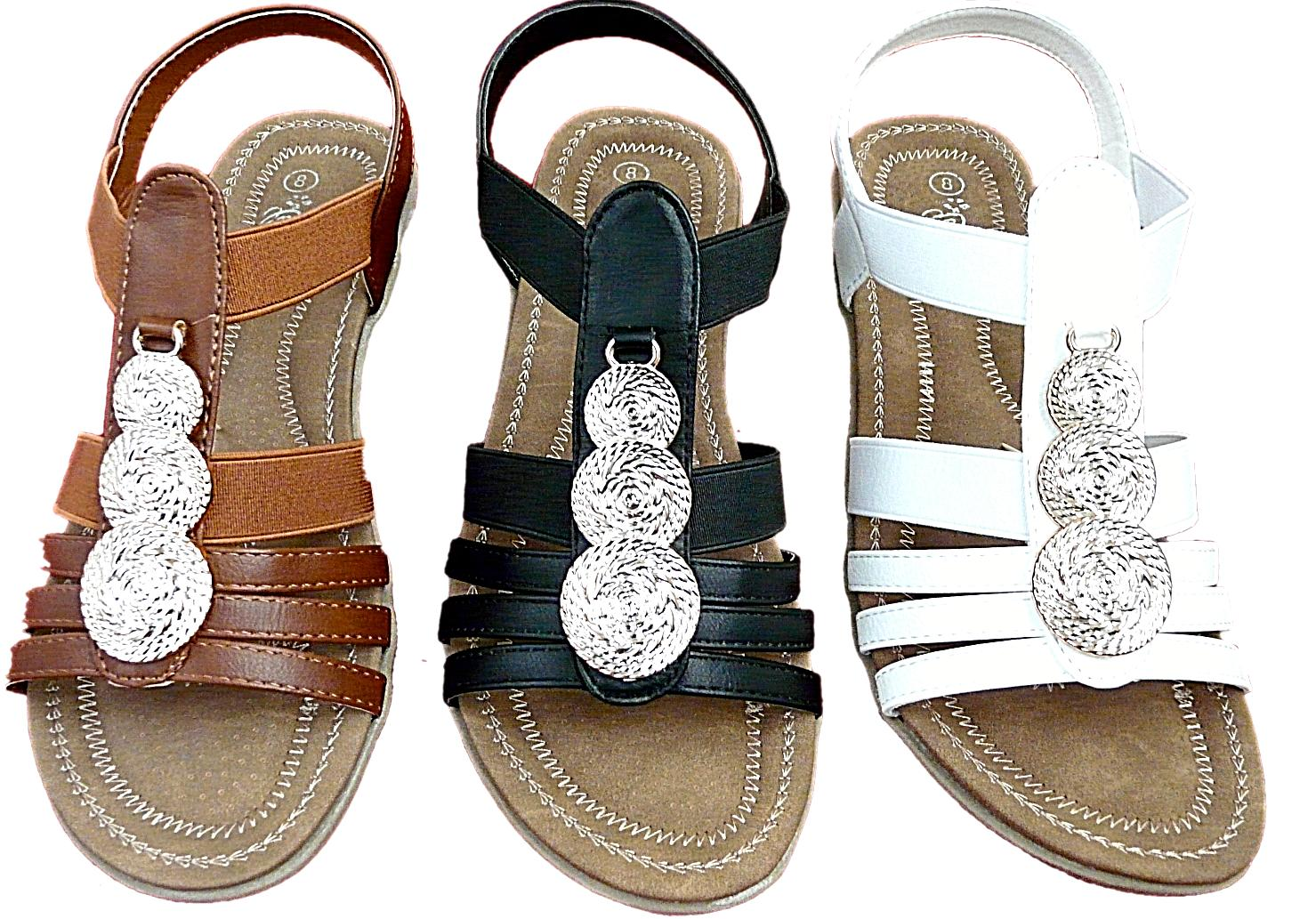 New Women Sandals Back Strap Tan/Wht/Blk Size #5-10