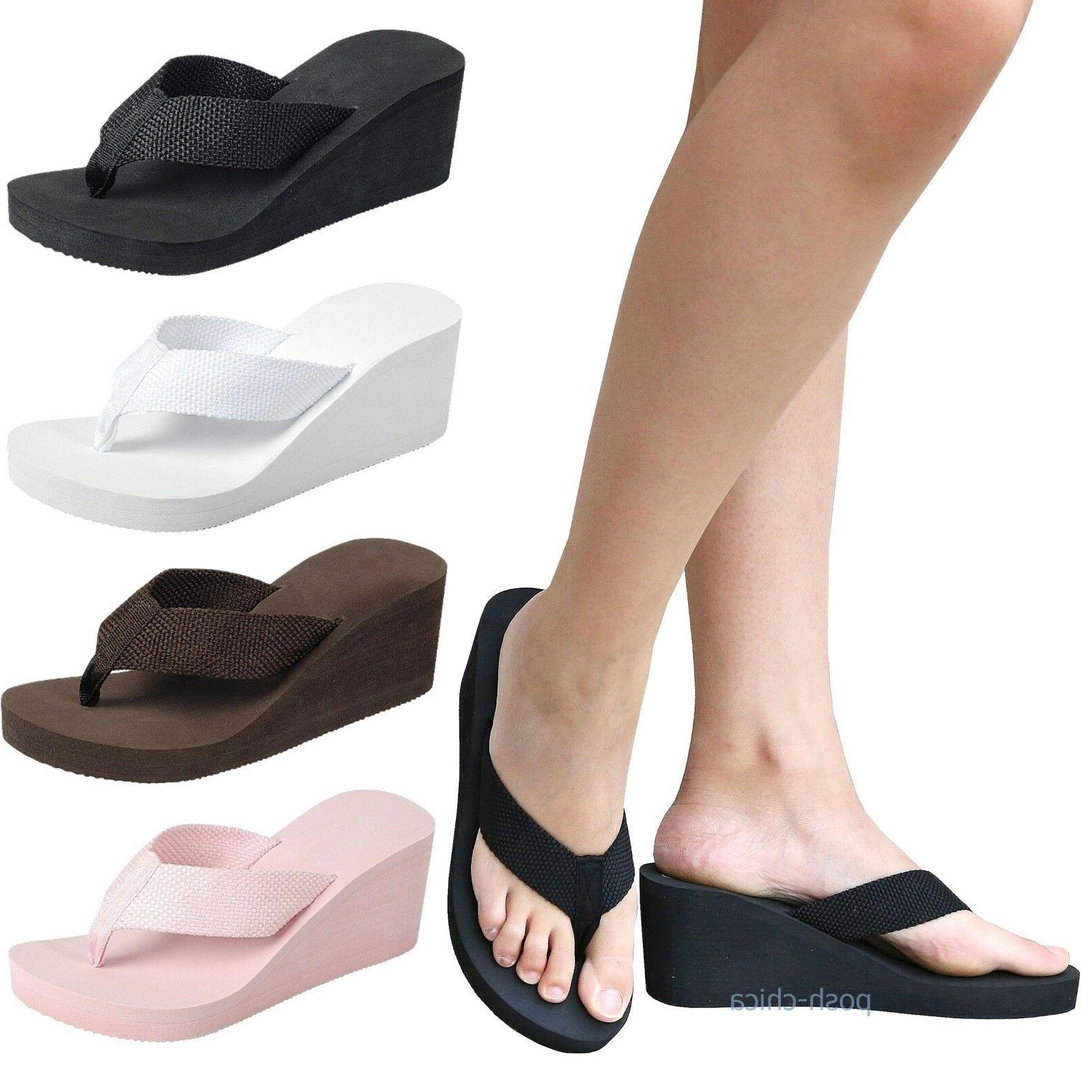New Women FCr62 Thong Wedge Platform Foam  Flip Flop Sandals
