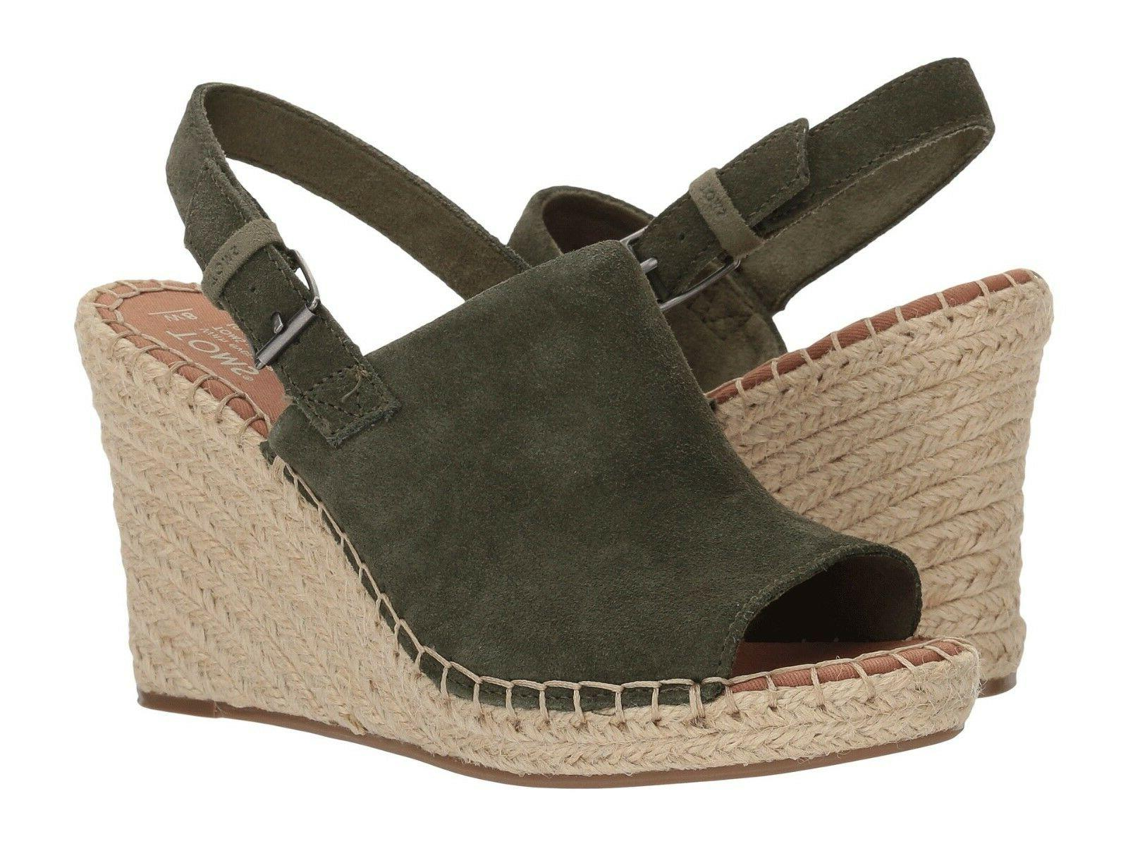 NEW WOMEN TOMS MONICA PINE SUEDE GREEN OLIVE LEATHER WEDGE S