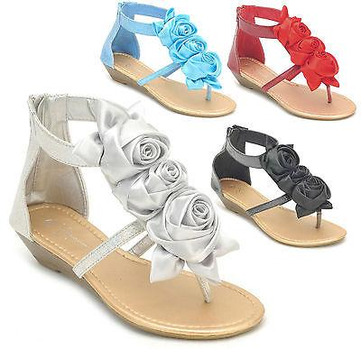 NEW Women's Flower Bow Glitter Ankle Strap Low Wedge Thong S