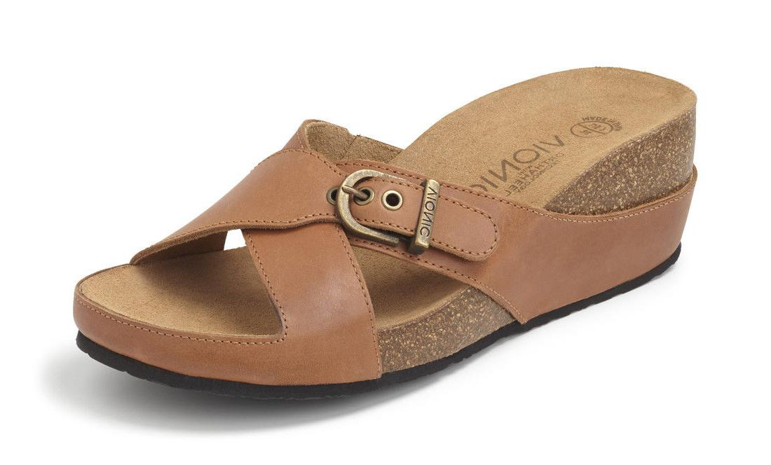 New Women's Vionic Mallorca Wedge Heel Slide Sandals - Tan S