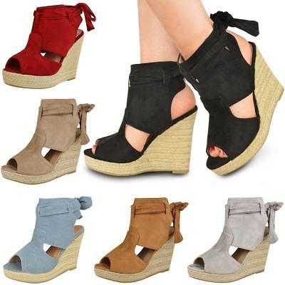 new womens ladies wedge ankle lace tie