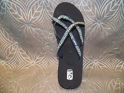 New Womens Teva Mush Mandalyn Mosaic Blue Strappy Flip